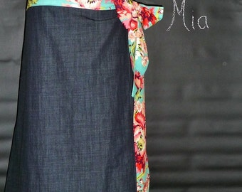 Wrap Around SKIRT - Amy Butler - Denim - Made in ANY Size - Boutique Mia
