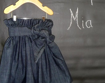 Denim Paper Bag SKIRT and SASH - Made in ANY Size - Boutique Mia