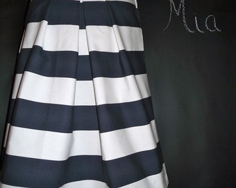 A-line Pleated Heavy Weight SKIRT - Nautical - Made in ANY Size - Boutique Mia