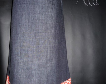 A-line SKIRT - Denim and Amy Butler - Made in ANY Size - Boutique Mia