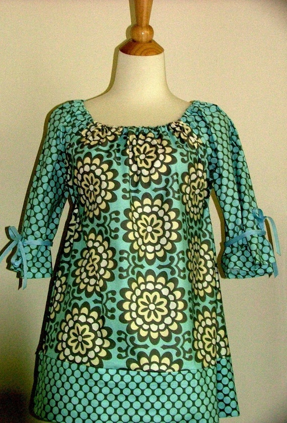 Scoop Neck Tunic TOP or DRESS - Amy Butler - Lotus - Made in ANY Size - Boutique Mia
