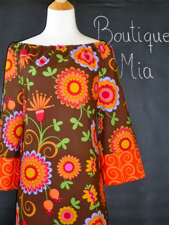 WOMEN - 1972 Boatneck dress with 3/4 sleeves - Pillow and Maxfield - Pretty Bird - by Boutique Mia