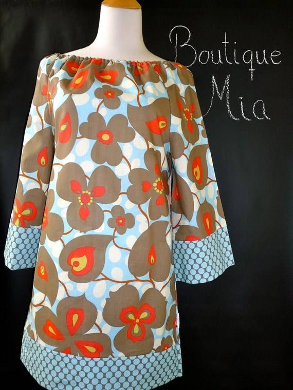 Boatneck DRESS or TOP - 3/4 length sleeves - Amy Butler - Belle - Made in any Size - Boutique Mia by CXV