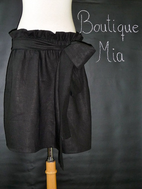 Paper Bag SKIRT and SASH - Linen and Cotton - Made in ANY Size - Boutique Mia