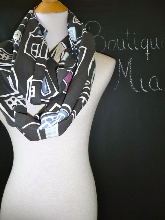 PERFECT GIFT - Infinity SCARF - Houses - Quilters Cotton - by Boutique Mia