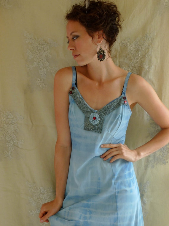 Bluebird Slip Dress... Size Large... Eco Friendly Recycled Tie Dye Bridesmaid