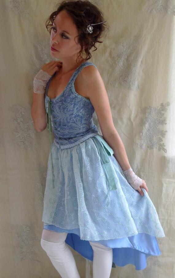 RESERVED Finula High-Low Corset Dress... size Medium... Eco Friendly Fantasy Fairy Alternative Bridesmaid Tea Party Evening Recycled