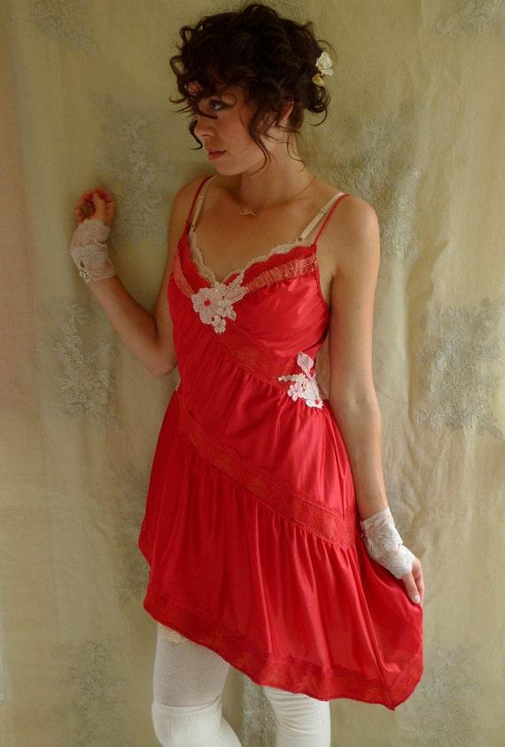 SALE Trella Babydoll Slipdress Set... size Medium... Eco Friendly Recycled Red Fairy High Low