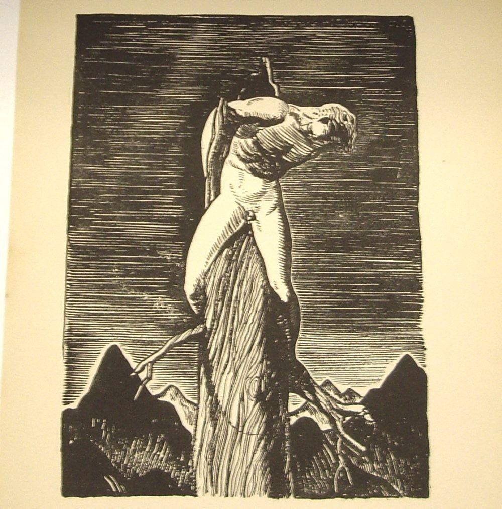 Art Deco Man Cave : Rockwell kent art deco man print from his first edition