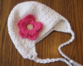 Earflap beanie with Flower