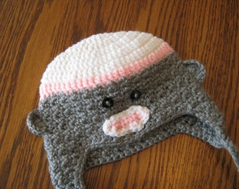 Sock Monkey inspired Earflap Beanie II