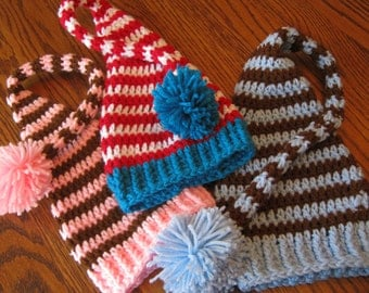 Long Tail Striped Pixie Elf Hat - You choose colors