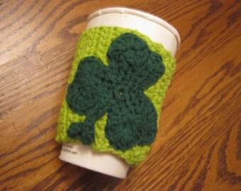 Custom Coffee Cozy with St. Patrick's Day Sharmrock