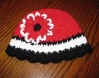Striped Beanie with Flower accent - your choice of colors