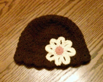 Brown beanie w/Flower