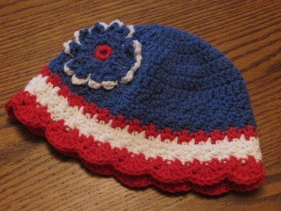 Patriotic Striped beanie with flower accent