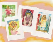 Eight Watercolor Notes of My Little girls