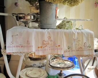 Set of three hand embroidered Vintage Tea Towels