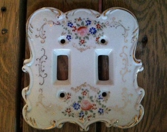 Floral Beautiful Antique Porceline Switchplate for two light switches