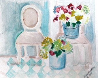 Original watercolor by Lora Riethmeier (Chair's and Hydrangea's)