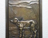 """Bronze Sculpture Calf Wall Plaque in Bas Relief, 6"""" x 8"""""""