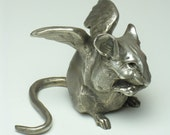 Angel Chubby Mouse - Bronze Sculpture - 7 and a bit inches nose tip to tail tip