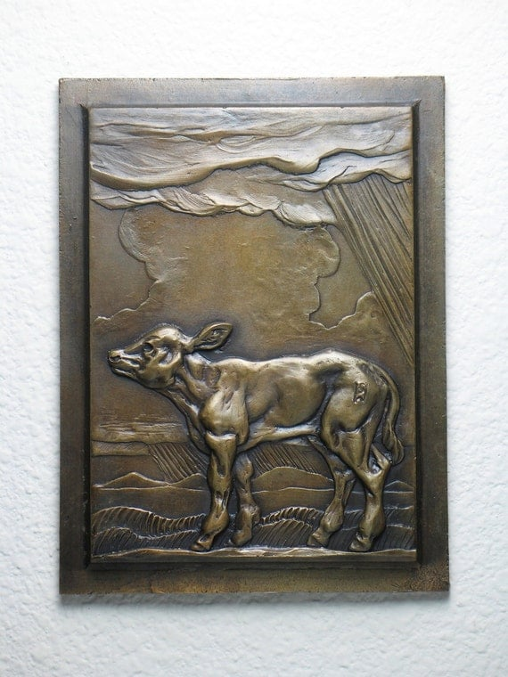 Bronze Sculpture Calf Wall Plaque In Bas Relief 6 By CritterVille