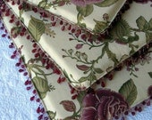 ON SALE....Set of FOUR (4) FLOWER print dining chair cushions/pads with beaded fringes.