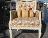 ON SALE....Vintage Paisley and Stripes Bergere Chair was 375 now 295.......FREE SHIPPING