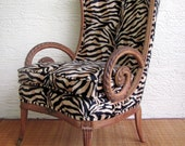 Rare French Art Nouveau Chair in Zebra Print........FREE SHIPPING