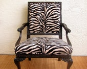 French inspired Vintage Chair upholstered in Zebra Print.............FREE SHIPPING