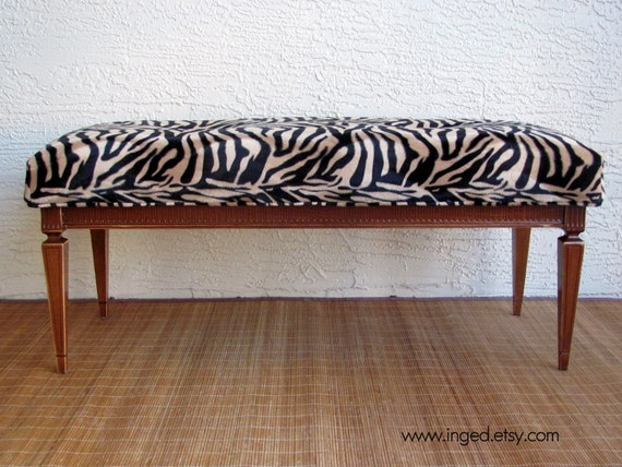 Antique bench newly upholstered in zebra print free Leopard print bench