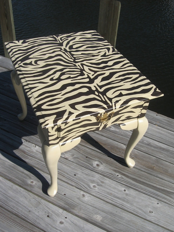 ZEBRA Print Coffee Side Table FREE SHIPPING By Inged On Etsy