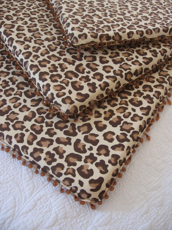 Set Of Four 4 Leopard Print Dining Chair Pads By Inged On Etsy