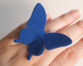 Felt Butterfly Ring -ROYAL BLUE- Swallowtail