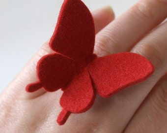 BUTTERFLY RING - 100% wool felt -  Valentine Red - large swallowtail
