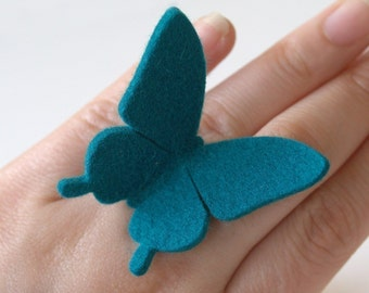 Felt  Butterfly Ring - TEAL - large swallowtail
