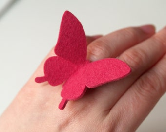 BUTTERFLY RING - 100% wool felt - Shock Pink - large swallowtail