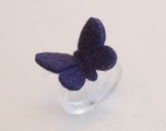 BUTTERFLY RING - 100% wool felt -  VIOLET - small baby
