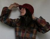 Newsboy Hat in Fiesta Red Tweed SALE
