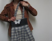 Pleated Tote in Blue Plaid With Vintage Doily Applique