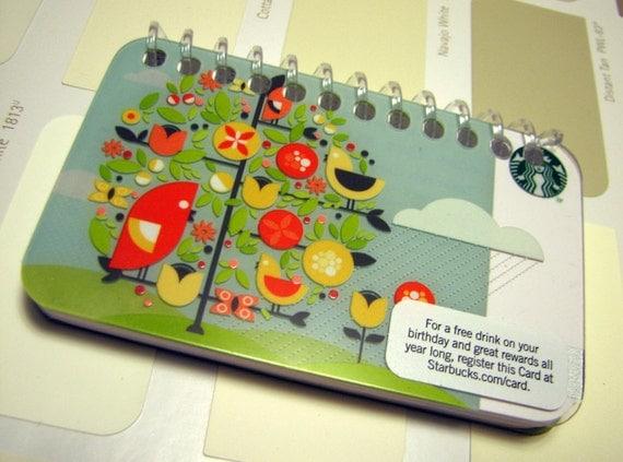 Starbucks Gift Card Mini Sketchbook with Birdies
