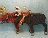Merry Christmoose--Moose Cinnamon Ornament Pair