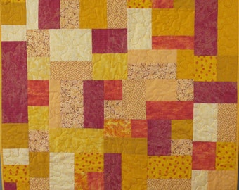 Red and Yellow Handmade One of a Kind Cotton Quilt