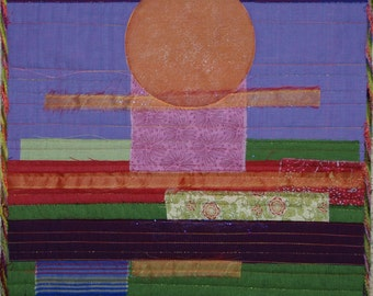 Fiber Art Quilt, Full Sun Quilted Wall Hanging