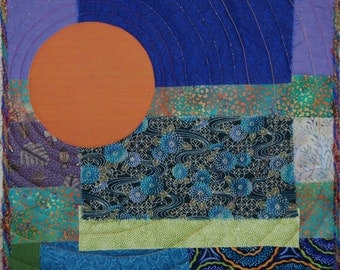 Fiber Art Sunrise Quilted Wall Hanging