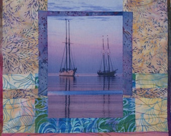 Fiber Art Quilt Hand Made Wall Hanging Sunset With Sail Boats