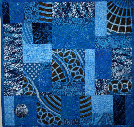 Fiber Art Quilted Wall Hanging, The Blues