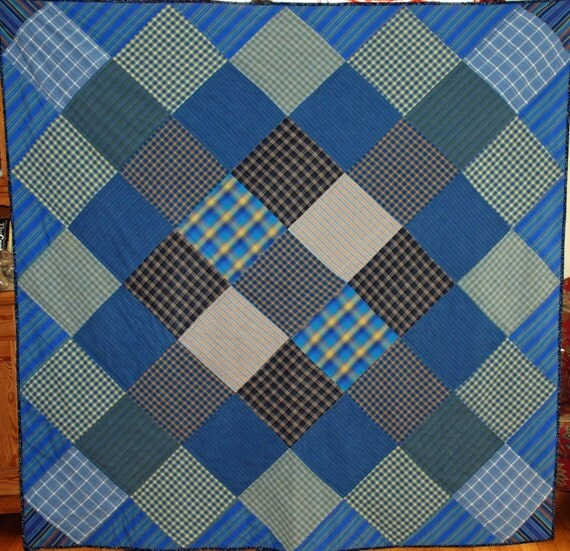 Blue and Plaid Handmade one of a Kind Quilt Throw