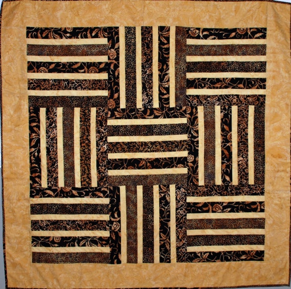 Gold and Black Batik Hand Made One of a KInd Quilt